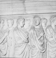 [Ara Pacis: east side, details from the Processional frieze (Rome, Italy)]