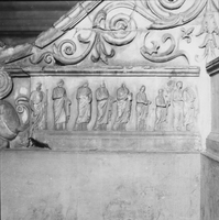 [Ara Pacis: details from west side friezes inside altar (Rome, Italy)]