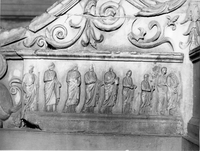 [Ara Pacis: left wing, sacrificial procession of 6 vestals virgins moving from left to right, flanked by male figures (Rome, Italy)]
