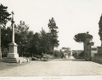 [Appian way (Rome, Italy), children on horse-car by the column dedicated to Pope Pius IX; on the right entrance to the church of S. Sebastiano fuori le mura, and tomb of Caecilia Metella in the distance]