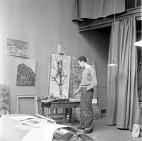 [American Academy (Rome, Italy) (?), painter at work]