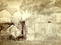 [Agger of Servius Tullius (Rome, Italy), ruins of houses of the first century during the excavations in 1869, in a street made in the great inner foss, with the backs of them built into the Agger (destroyed in 1870)]
